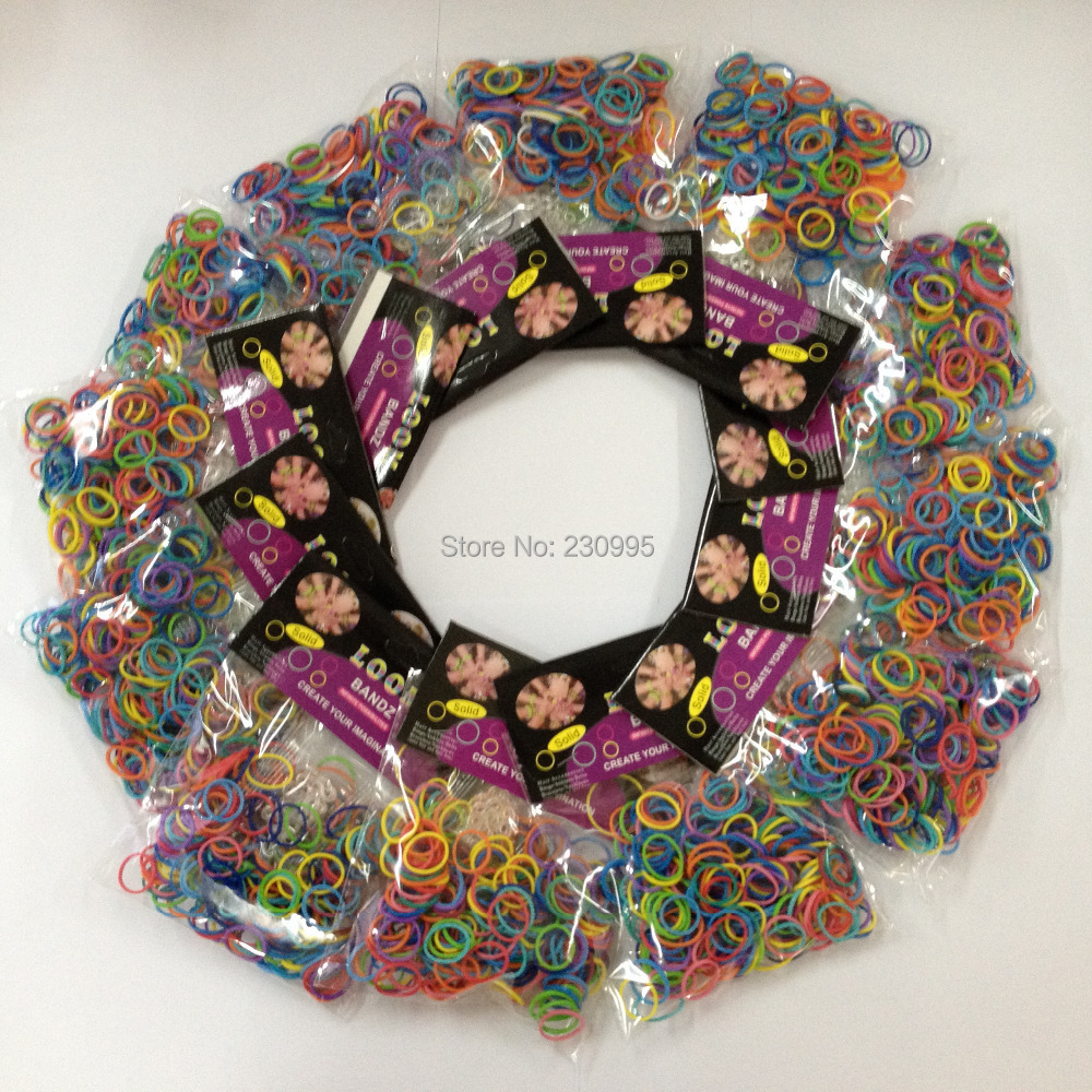 2bags/lot 56loom bands clips Mix colorful Silicone Bracelet Crazy DIY Cheap Elastic Rubber Loom Bands  -  Madegiftforyou Factory Store store