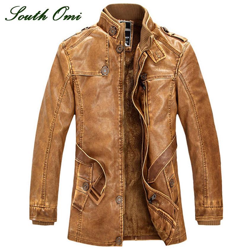 Leather Jackets Men Coats Winter Warm Motorcycle Leather Jacket