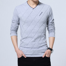 BROWON 2018 T-shirt Dos Homens Da Forma Slim Fit T-shirt Feito Sob Encomenda Projeto Vinco Longo Luxo Elegante V Pescoço T-shirt Camiseta de Fitness homme(China)