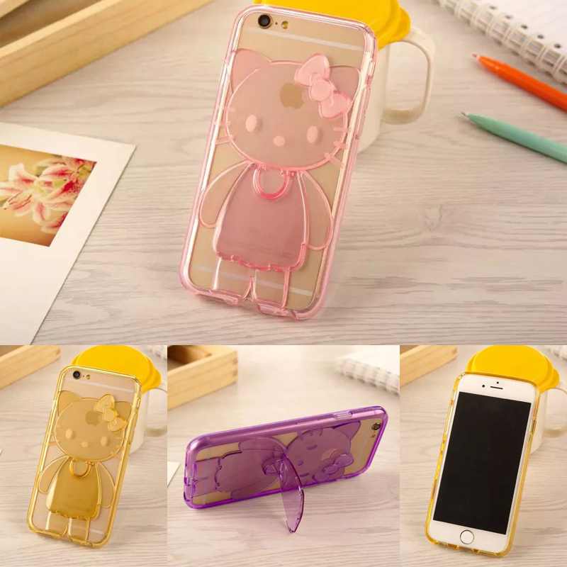 2016 New Cute Cartoon TPU Hello Kitty Stand Case Capa Para Fundas Case Cover For Iphone 4/4s/5/5s/6/6S/6plus/6splus With strap(China (Mainland))