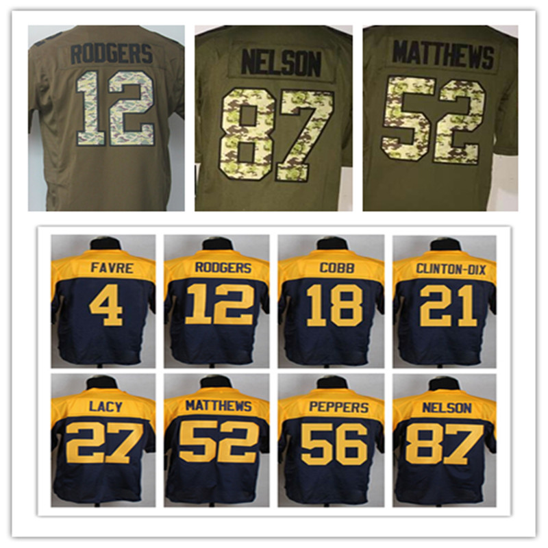 #12 Aaron Rodgers jersey elite #27 Eddie Lacy jersey 100% szyte #87 Jordy Nelson #18 Randall Cobb Clay Matthews #52 jersey(China (Mainland))