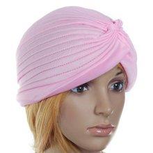 5 x (Polyester Pleated Turban Hat Head Head Cap Twist Hat