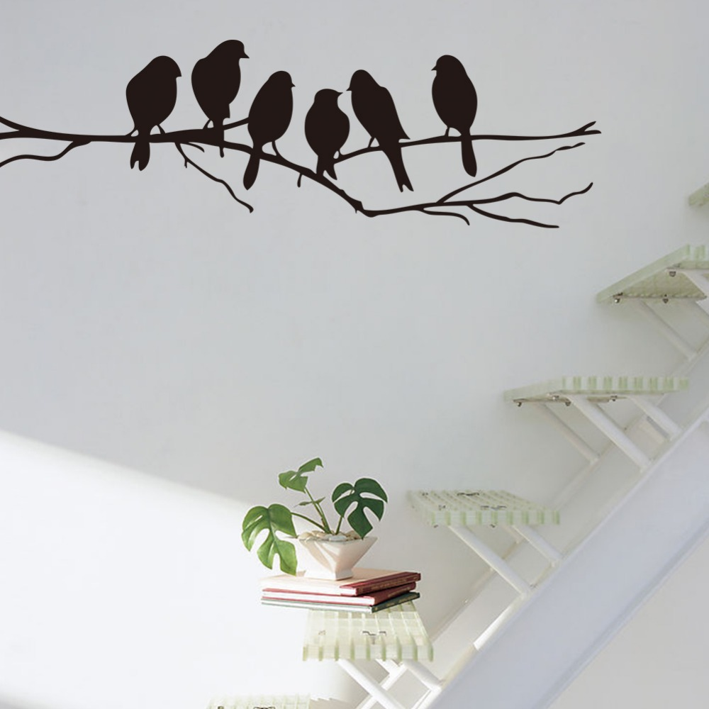 Free shipping removable black birds tree branch pvc mural for Bird wall mural
