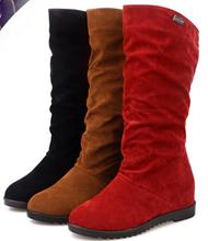 2014 nuevos planos inferiores para mujer rodilla botas altas 4 colores ocultar cuña de ocio señora nieve zapatos Casual de invierno para exterior WSH160(China (Mainland))