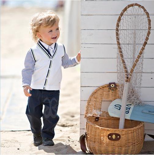 New autumn baby boy suit blue long sleeve lapel plaid shirt + knitted vest + trousers 3pcs set kids boys clothing set 5set/lot <br><br>Aliexpress