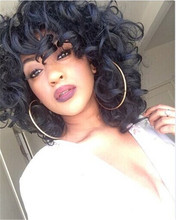 Perruque synthetic women Short Curly Black Wigs for Black Afro American Free Shipping