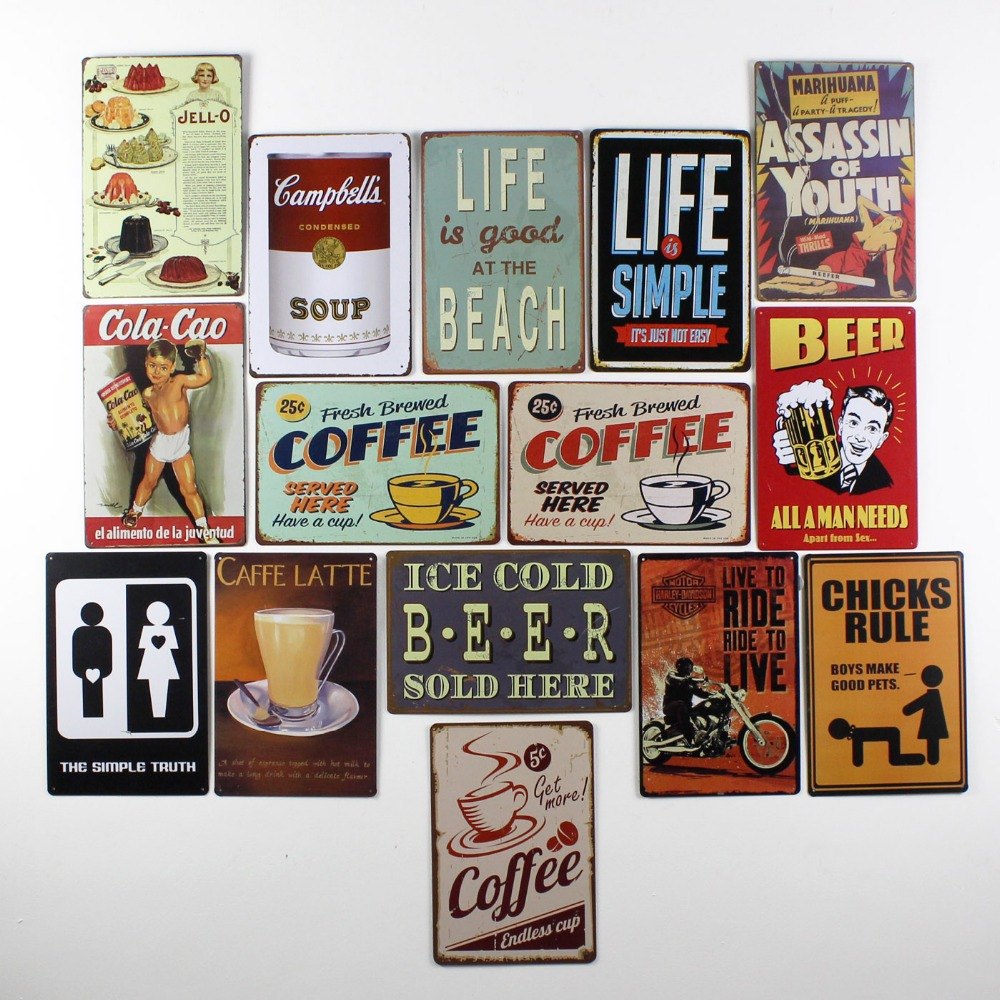 Restaurant Bar Wall Decor : Metal vintage tin signs plaque coffee beer pub wall tavern