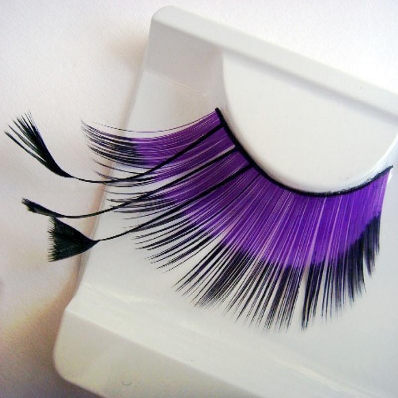 Гаджет  maquiagem eyelashes cilios colorful purple long feather False eyelashes costume party eye lashes profissional None Красота и здоровье