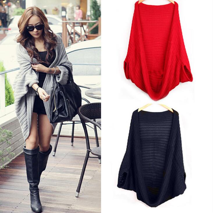 New 2014 Fashion Women Irregular Batwing Cardigan Tops Knitted Loose Sweater Ladies Fashion Swing Ponchos Wraps Cape Coats(China (Mainland))