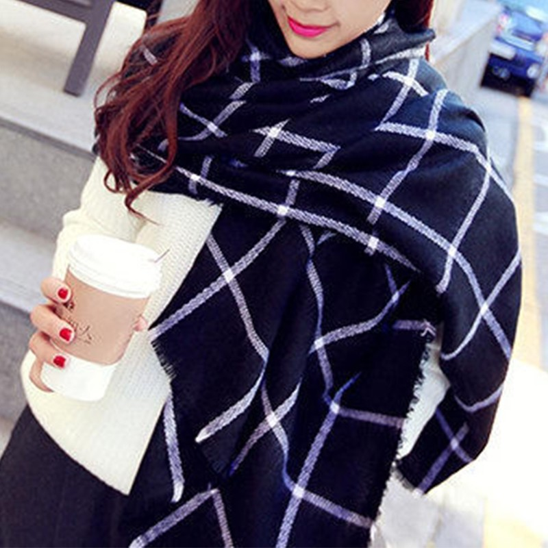 Scarf Women High quality Cashmere Tartan scarves Plaid Scarf Cozy Checked Blanket Oversized Wrap Shawl dress winter scarves