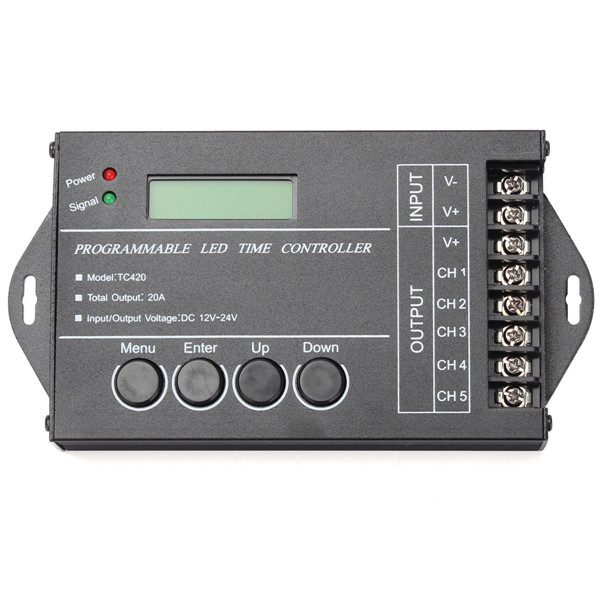 High Standard DC12-24V 20A 5 Channel Output Computer Programmable Led Time Controller TC420 Assemble With USB Cable And CD-ROM<br><br>Aliexpress