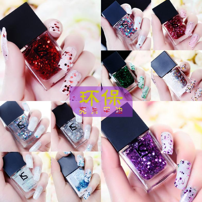 ISHINE 2015 green nail polish shine series of sequins sparkle nail polish oil paillette 11ML(China (Mainland))