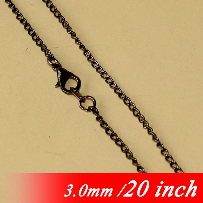 3mm Curb Chains With Lobster Clasps Connectors Fashion 20 Gunmetal Black Tone Bulk Metal Jewellery Links For Necklace Pendants<br><br>Aliexpress