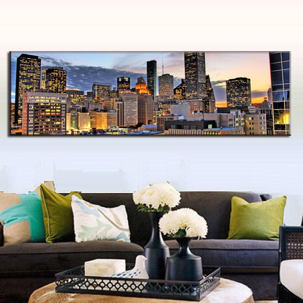 Large Canvas Paintings Wall Art Single Living Room Decorative Picture The City Building Modern