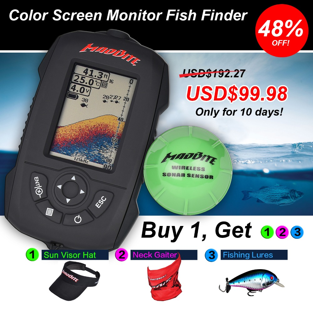 2016 Hot MadBite Water Resistant Portable Fish Finder 45M Depth Sonar Sounder Alarm Transducer Fishfinder Wireless depth finder(United States)