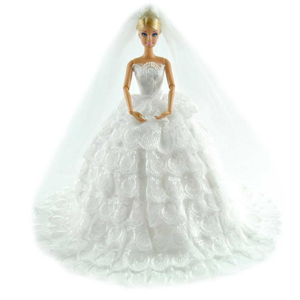 White Gorgeous Wedding Dress Princess Gown Clothes+ Veil For Barbie Doll(China (Mainland))