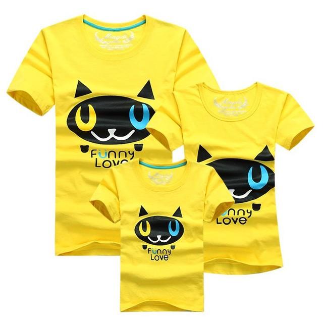 1 шт. 95% хлопок черная кошка синий красный цвета футболки детей семьи наряды одежды ...