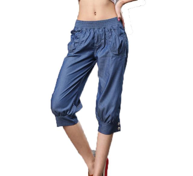 Free Shipping ! Female Big size Knee length Loose Harem Jeans Trousers,Female Cotton Elastic Fashion Slim Capris XL XXL XXXL 4XL