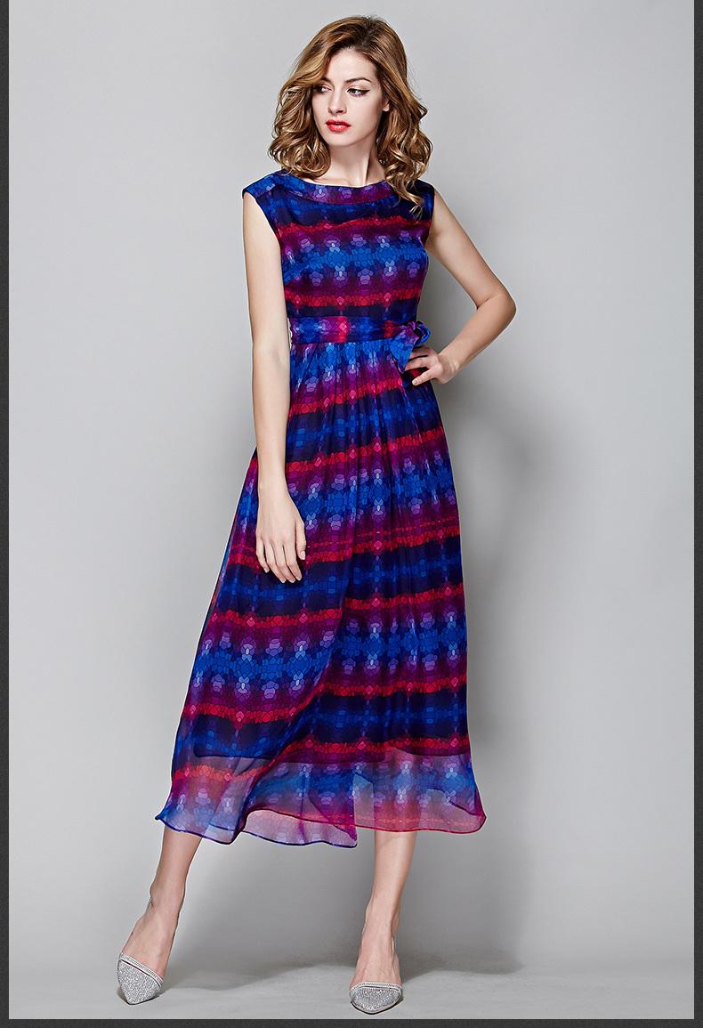 Free Shipping 2015 Summer Wear New Style European Women 39 S Clothing Silk Print Dress Jo1080 In