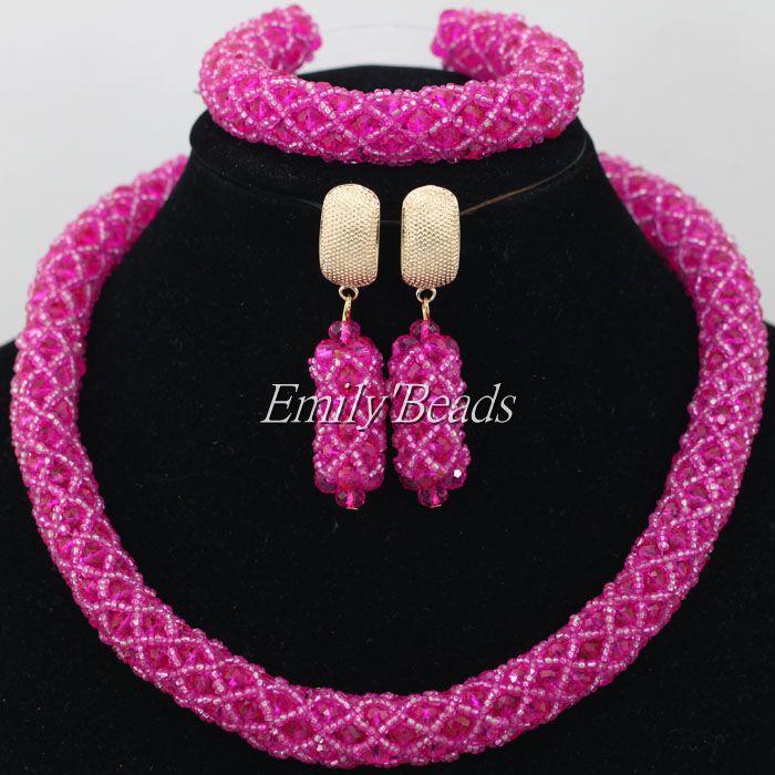 Hot fuchsia pink nigerian traditional wedding jewelry set for Pink wedding jewelry sets