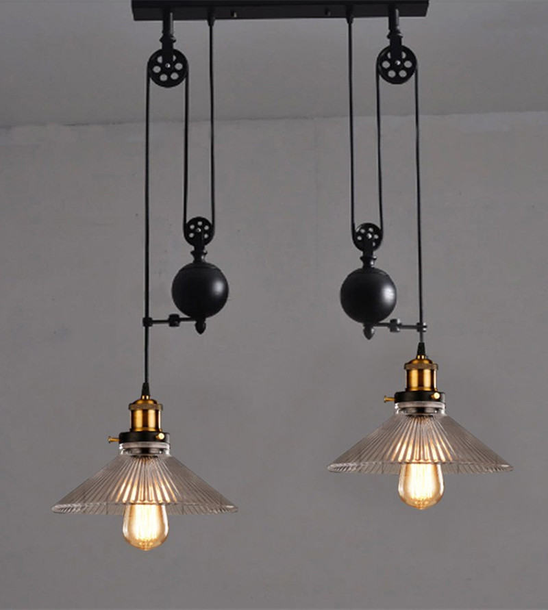 Retro Pulley Pendant Light Lamparas Glass Metal Lampshade