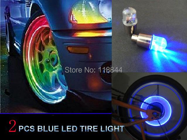 2pcs Blue Red 7 Color LED Tyre Tire Valve Caps Neon Light Bike Car motorcycle Free Shipping(China (Mainland))