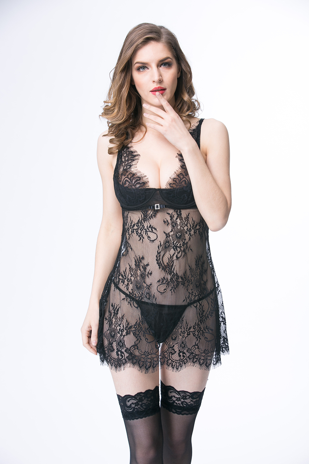 Lace erotic transparent showing adult lingerie sexy erotic Lace Mesh Robe Transparent Hot Lady Sexy Nightwear Sleep EB658