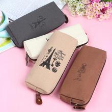 1 x  Unique Retro Canvas Pencil Pen Case Cosmetic Makeup Coin Pouch Zipper Bag Purse(China (Mainland))