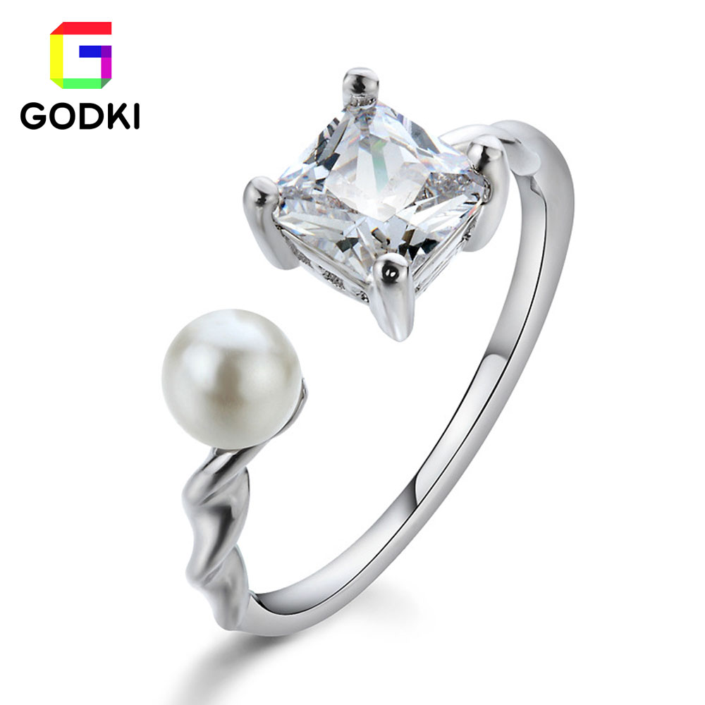 18k Gold Plated Rings For Women Princess Cut Cz 4 Claws Imitation Pearls Engagement  Ring Jewelry For Women 2color For Choose