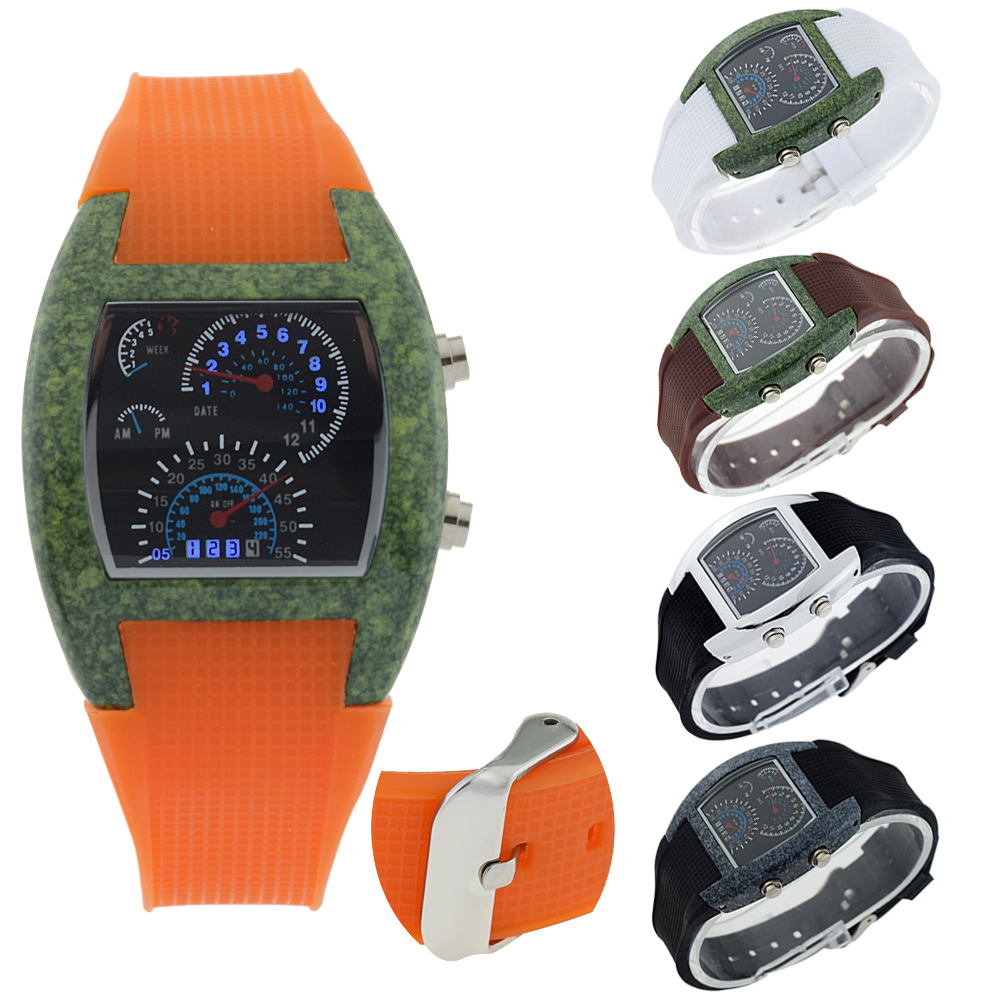 Charming Women's Girls Sports Ceramic Style Waterproof RPM Turbo Flash LED Car Speed Meter Wrist Watch(China (Mainland))