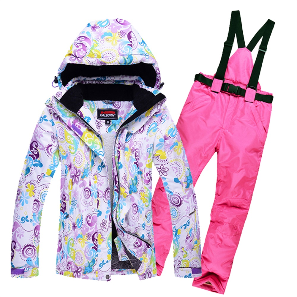 Women's Skiing Suit Windproof Mountain Fleece Padded Ski Jackets and Pant set Winter Snow Thicken Board Snowsports Clothing(China (Mainland))