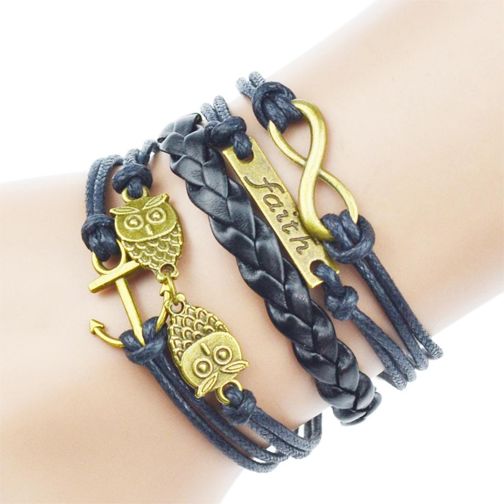 10 Piece/Lot Multilayer Braided Bracelets Vintage Owl Charm Bracelet Hallows Bracelet & Bangle for Men Jewelry(China (Mainland))
