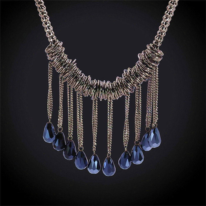 Hot Sale New Trendy Charm Vintage Bohemian Tassels Necklace Women Jewelry Silver Plated Luxury Brand Tassels Necklaces(China (Mainland))
