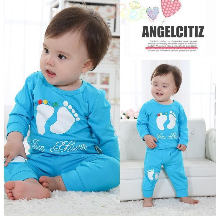 Hot sale New 2015 Spring / Autumn Candy color cartoon baby cloth set infant long sleeve cloth suit Top T shirt + pants(China (Mainland))