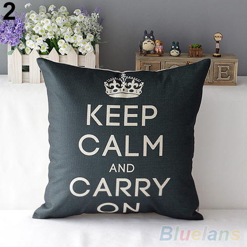 Retro Home Decorative Cotton Linen Blended Cushion Cover Crown Throw Pillow Case 4E8N