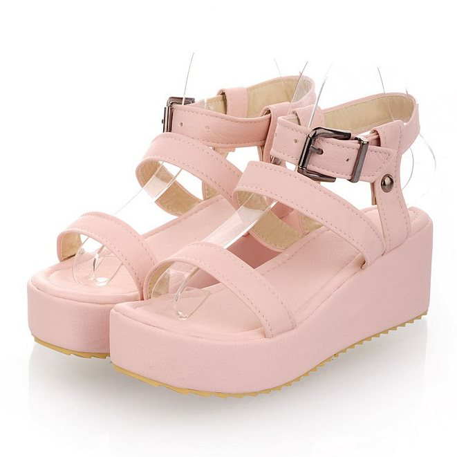 New 2015 Summer Women's shoes Sandals High heel platforms Buckle Open toe Wedges Summer sandals for women Sweet 3 Color(China (Mainland))