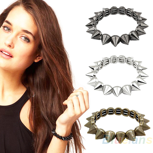 Retro Rock Punk Europe and the United States jewelry spikes rivet bracelet British Elastic Stretch Bracelet Black Silver Copper