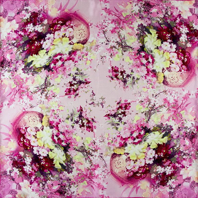 100% Silk Scarf Women Scarf Flowers in Vase Neckerchief Scarf Silk Bandana 2016 Top Foulard Small Square Silk Scarf Luxury Gift(China (Mainland))