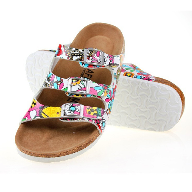 Unisex Summer Buckle Cork Slipper Sandals Flats Shoes 2016 Casual Women Mixed Color Beach Slippers Flip Flops - Gossip Girl Beautiful store