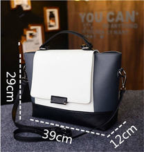 2015 New Hot Women Bags Lady Faux Leather Handbag White amp Black Messenger Bag Purse Tote