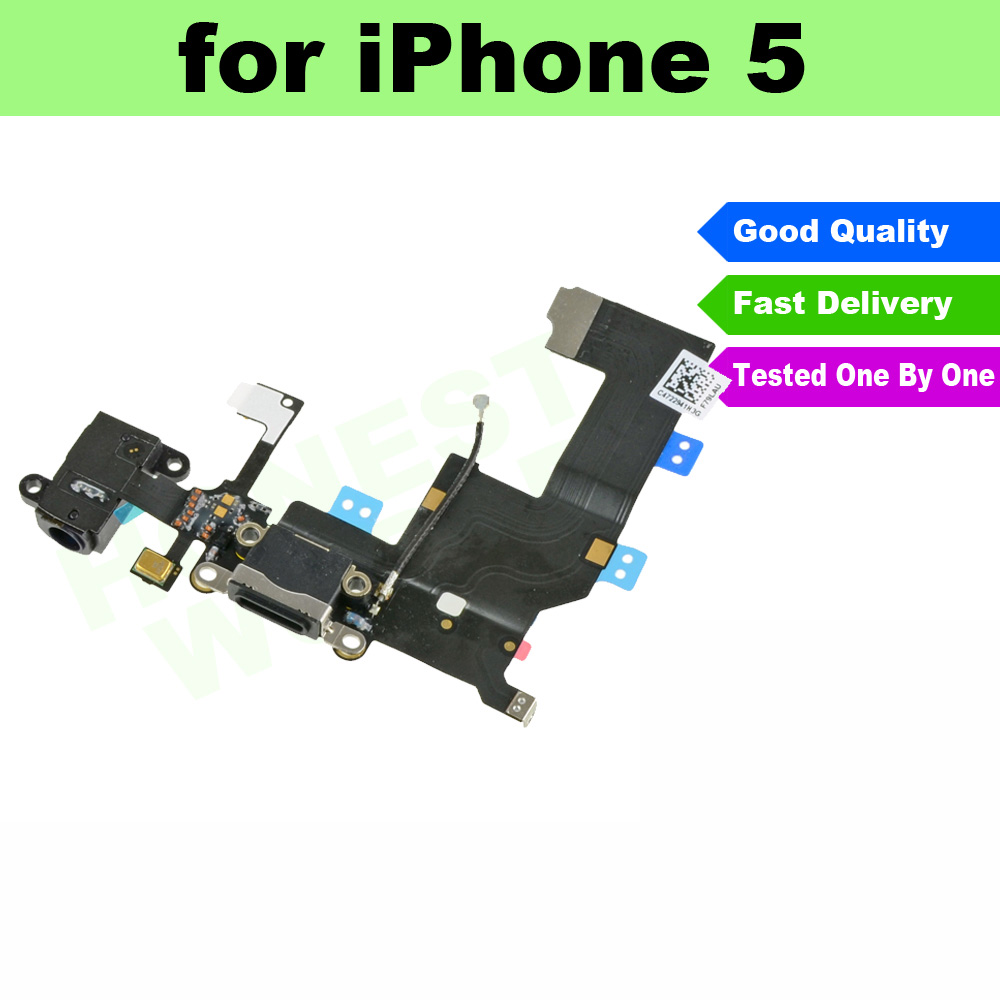 Original for iPhone 5 5G Black Headphone Audio Jack Dock Charger Charging Connector Flex Cable Ribbon(China (Mainland))