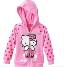 fashion hello kitty cartoon pattons long-sleeve hoodies cotton kids baby girls children sweatershirts sweaters(China (Mainland))