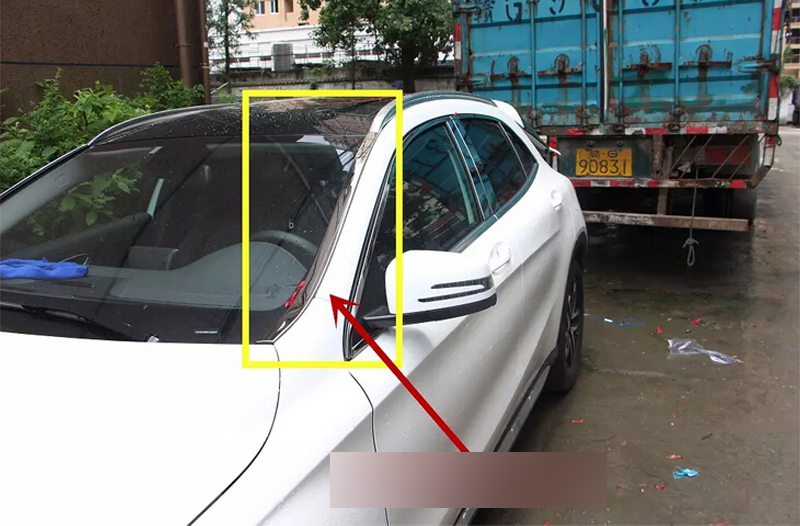 qUALITY! STAINLESS  STEEL Front  Windshield Glass cover trim 2pcs For Mercedes Benz  GLA   X156  2014 2015