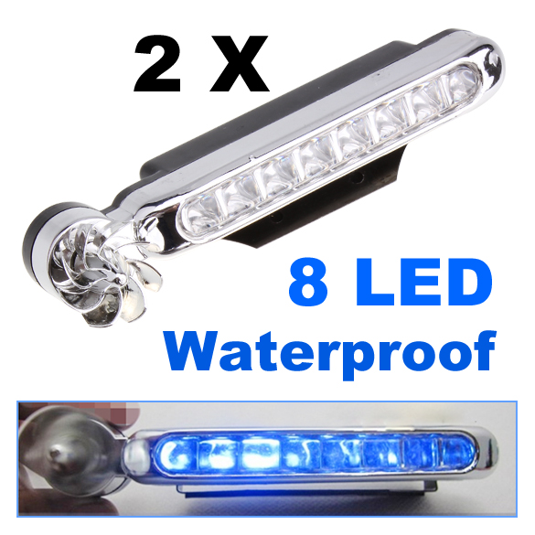 2 Pcs 8-LED Blue Auto Car Truck Motorcycle Wind Power Day Fog Driving Light Lamp<br><br>Aliexpress