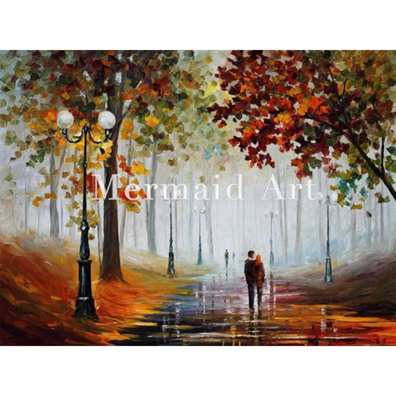 Buy Hand Painted Family By The Lake Landscape Abstract Palette Knife Modern Oil Painting Canvas Wall Living Room Artwork Fine Art cheap
