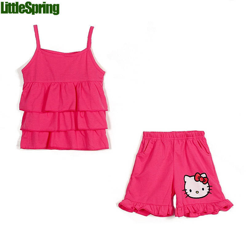 Fashion children cotton clothing sets cute kitty cake shorts sets 0-4 years girls summer sleeveless suits girls 2-pcs outfits(China (Mainland))