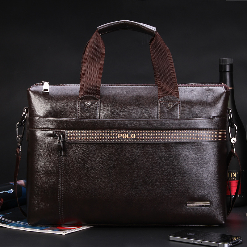 Free Shipping 2015 New Fashion Genuine Leather Bags for Men famous brand POLO Men's Shoulder Bag Leather Messenger Bag(China (Mainland))