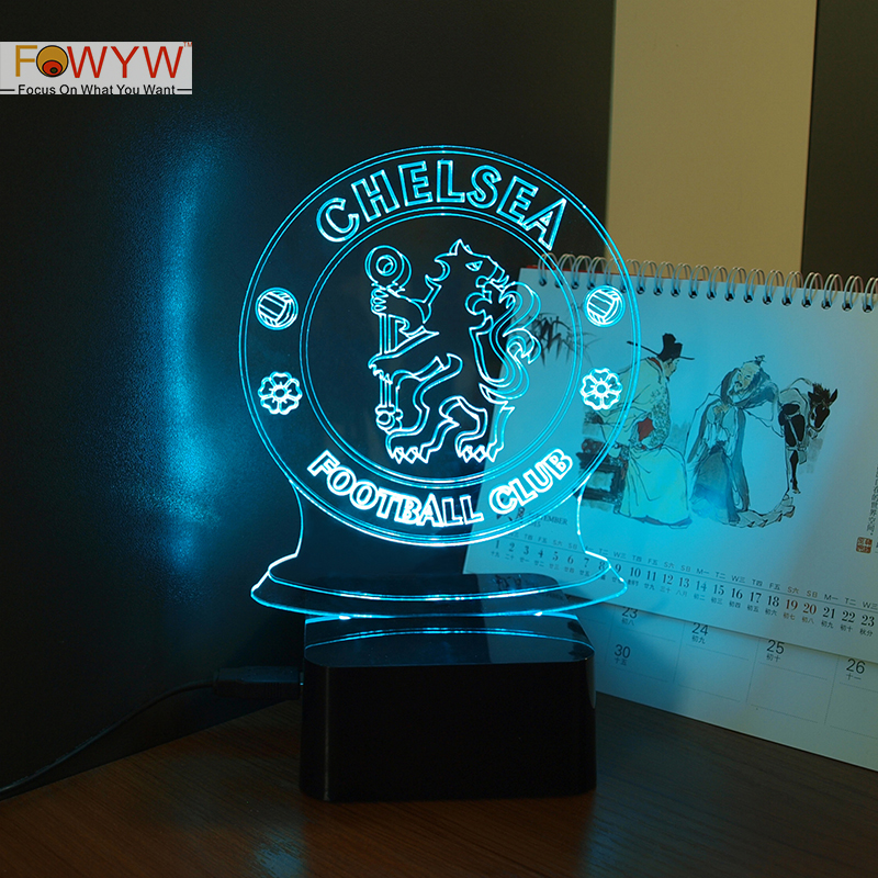 Chelsea Football Club 3D Night Lamp Micro USB Lamp 7 Colors Changeable Night Light For Children Soccer Fans(China (Mainland))