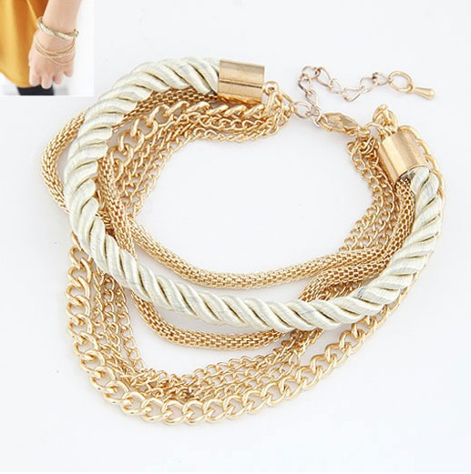 Fashion Jewelry Elegant Gold Color Chain Braided Rope Multilayer Bracelet Hand Chain for Women(China (Mainland))
