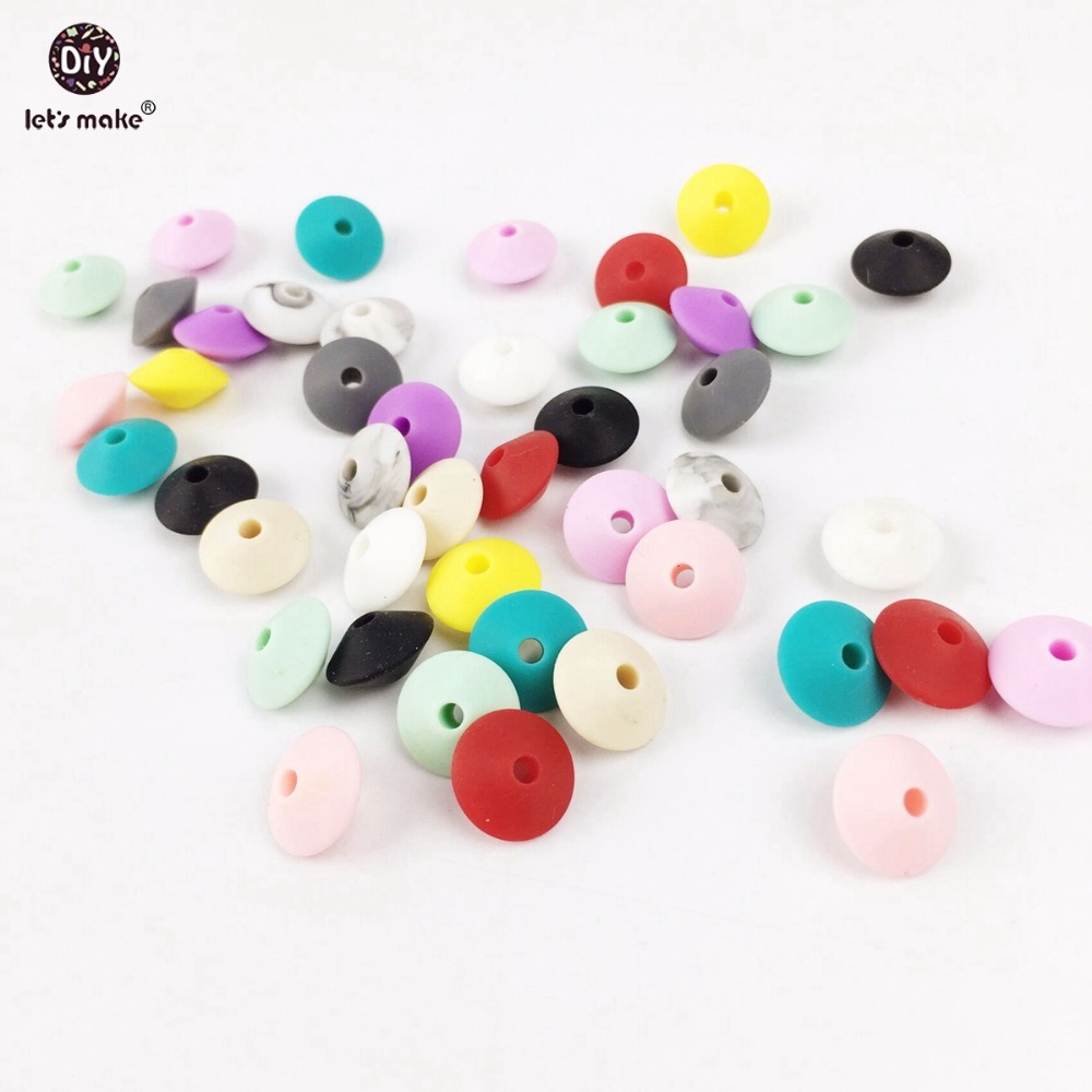 Let's Make Silicone Teething Abacus Beads Marble Colorful Rhombus 50pc DIY Crafts Silicone Teether Pendant Beads